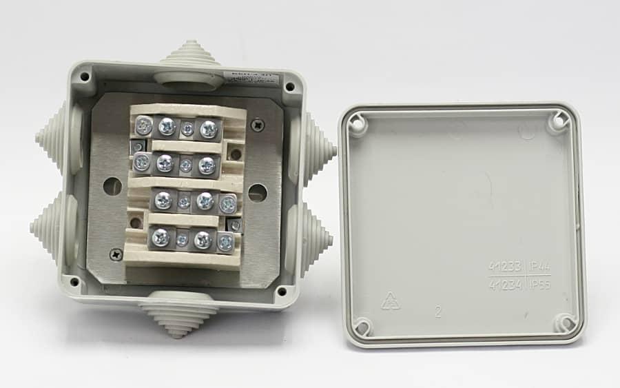Коробка монтажна розподільна вогнестійка пластикова БКП-3.4П (IP55)